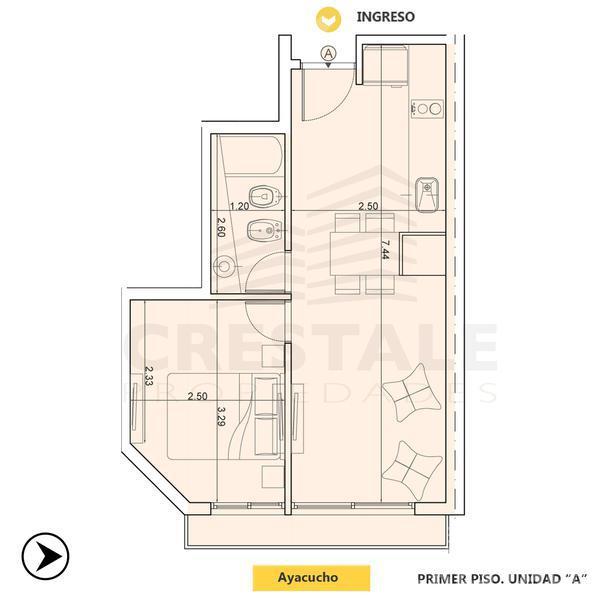 Venta departamento 1 dormitorio Rosario, zona Barrio La Siberia. Cod CBU10574 AP1044113. Crestale Propiedades