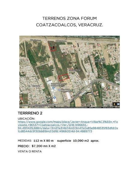 Foto Terreno en Venta en  Unidad habitacional Fovissste,  Coatzacoalcos  TERRENO (2) EN VENTA FRENTE A PLAZA FORUM EN COATZACOALCOS VERACRUZ