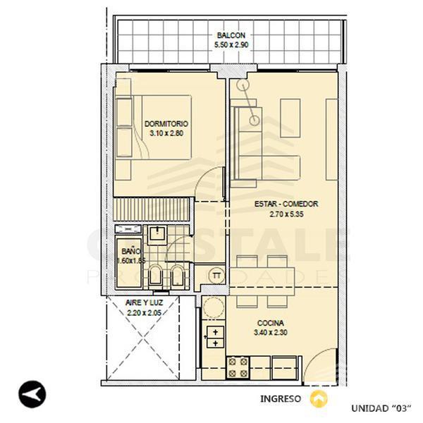 Venta departamento 1 dormitorio Rosario, zona Centro. Cod 4062. Crestale Propiedades