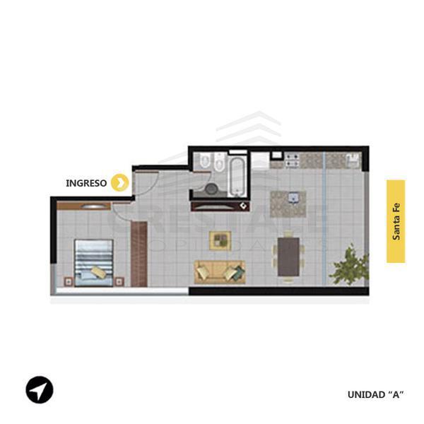 Venta departamento 1 dormitorio Rosario, zona Centro. Cod 2560. Crestale Propiedades