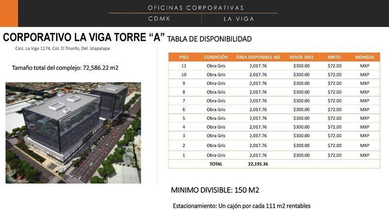 "Foto Oficina en Renta en  El Triunfo,  Iztapalapa  CORPORATIVO LA VIGA TORRE ""A"" - IZTAPALAPA"