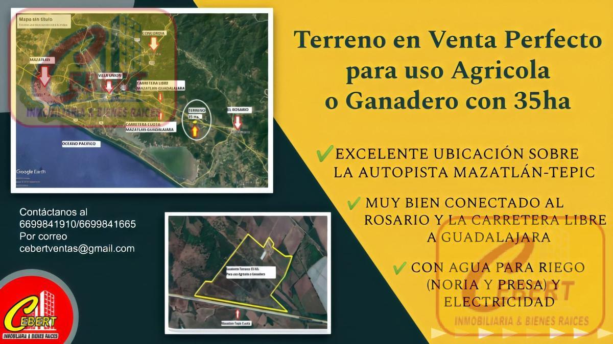 """Foto Campo en Venta en  Rancho o rancheria Tablón Viejo,  Rosario  """"EXCELENTE TERRENO PARA USO AGRÍCOLA O GANADERO"""" EN CARRETERA MAZATLAN-ROSARIO. CON AGUA Y LUZ"""