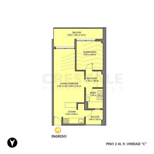 Venta departamento 1 dormitorio Rosario, zona Centro. Cod 3391. Crestale Propiedades