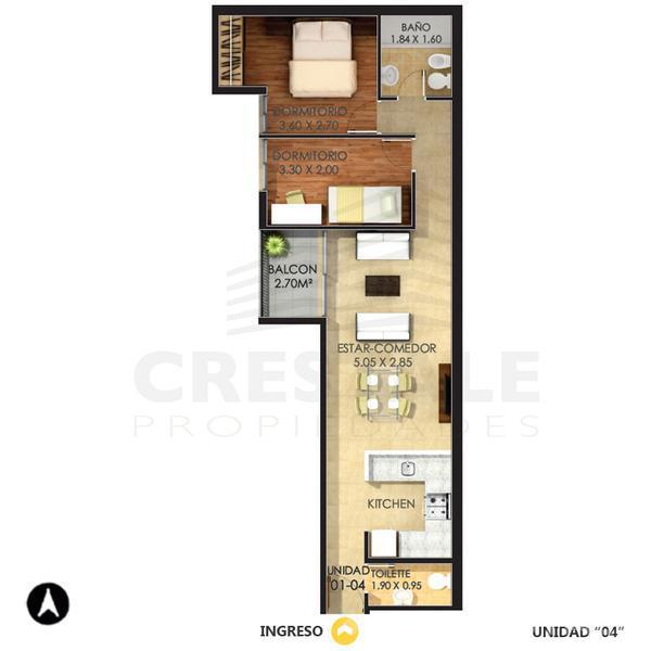 Venta departamento 2 dormitorios Rosario, zona Centro Oeste. Cod CBU7814 AP770053. Crestale Propiedades