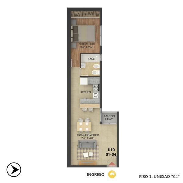 Venta departamento 1 dormitorio Rosario, zona Centro. Cod CBU12649 AP1217275. Crestale Propiedades