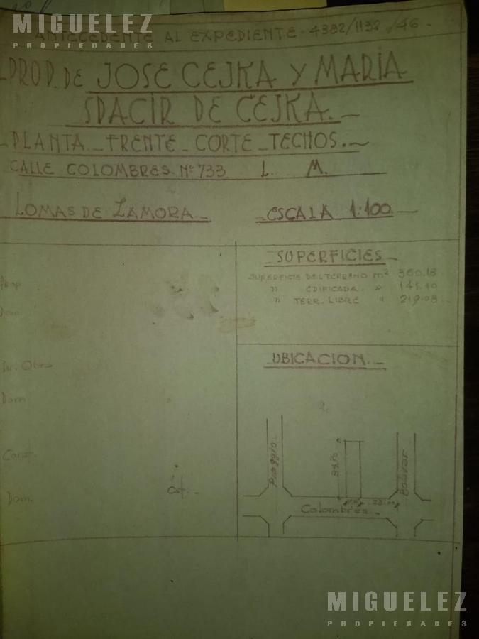 Foto Terreno en Venta en  Lomas De Zamora ,  G.B.A. Zona Sur  COLOMBRES 733