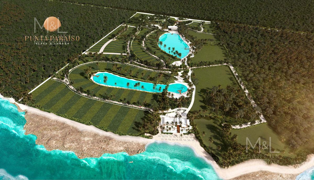 Foto Terreno en Venta en  Paa Mul,  Solidaridad  Terreno  en Venta Punta Paraiso Beach and Lagoon Frente al Mar 410 m2. Riviera Maya