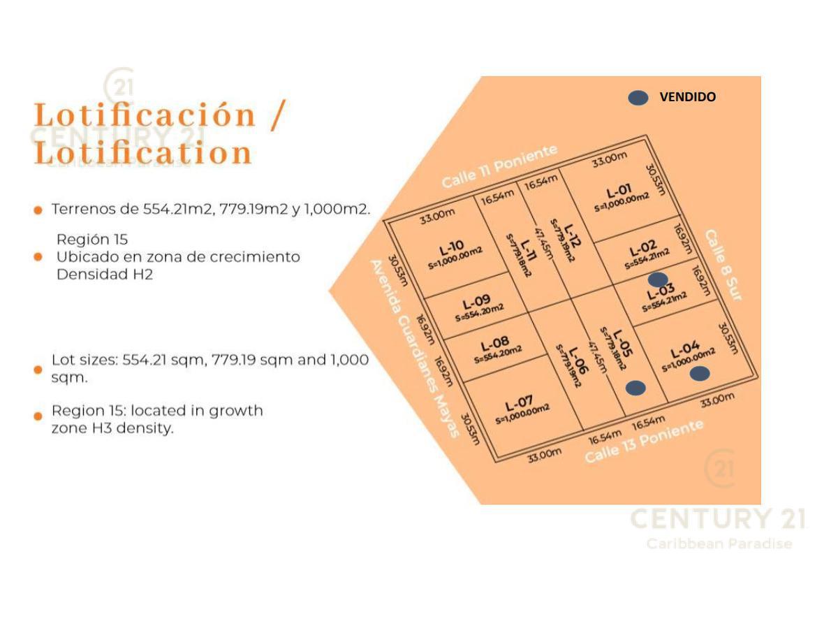 Foto Terreno en Venta en  Tulum,  Tulum  Terreno 554 m2 a la venta en la Región 15 Tulum P3326