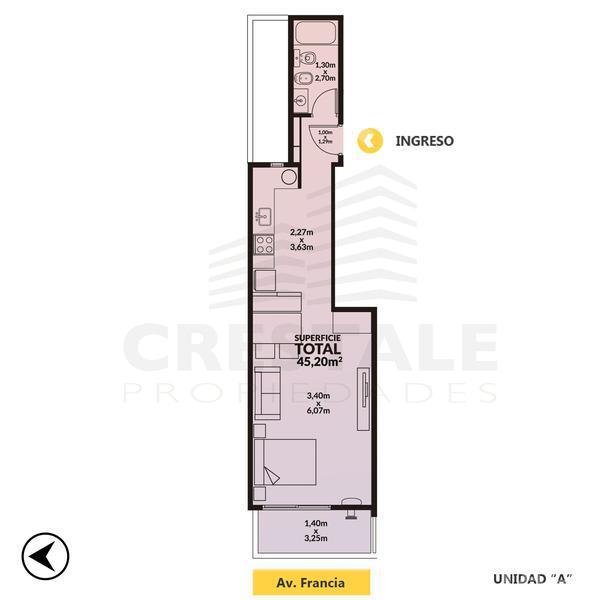 Venta departamento 1 dormitorio Rosario, zona Centro. Cod CBU10923 AP1180299. Crestale Propiedades