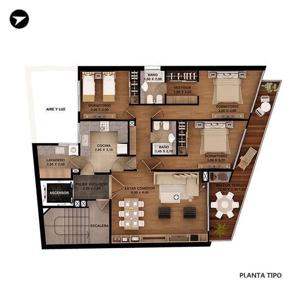Venta departamento 3 dormitorios rosario zona puerto for Planos de departamentos 3 dormitorios