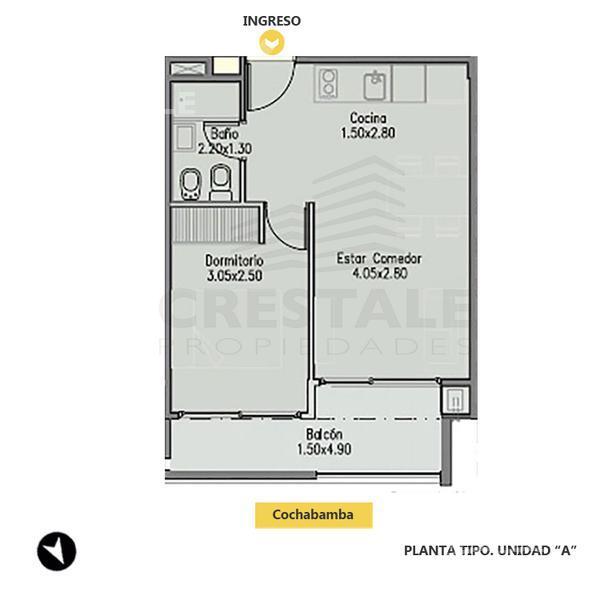 Venta departamento 1 dormitorio Rosario, zona Centro. Cod 1340. Crestale Propiedades