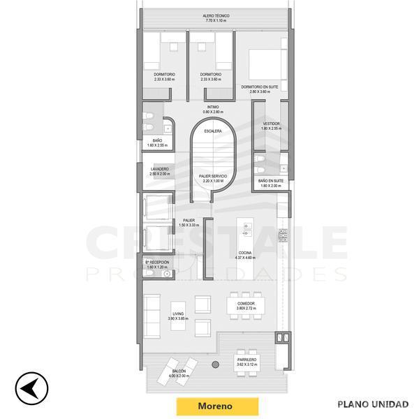 Venta departamento 3+ dormitorios Rosario, zona Abasto. Cod CBU11040 AP1084641. Crestale Propiedades
