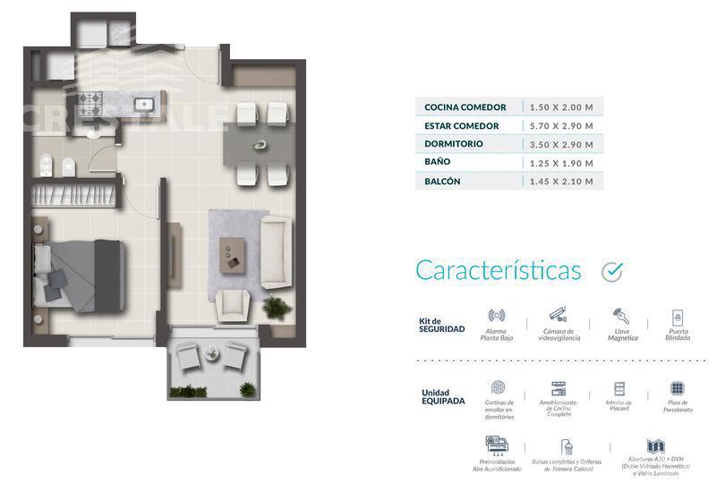 Venta departamento 1 dormitorio Rosario, zona Macrocentro. Cod CBU7878 AP574559. Crestale Propiedades