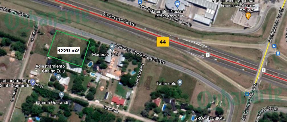 Foto Terreno en Alquiler en  General Rodriguez ,  G.B.A. Zona Oeste  Acceso Oeste Colectora Sur km44 entre Los Olmos y Los Granados COMERCIAL
