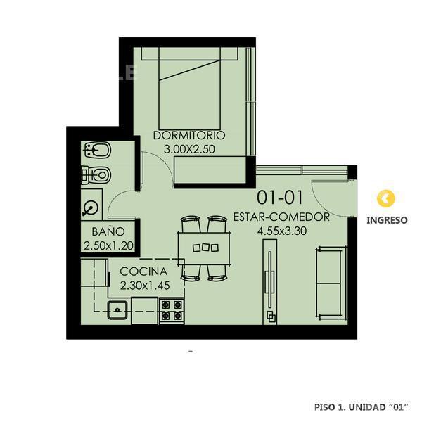 Venta departamento de pasillo 1 dormitorio Rosario, zona Centro. Cod CBU11729 PH1128769. Crestale Propiedades
