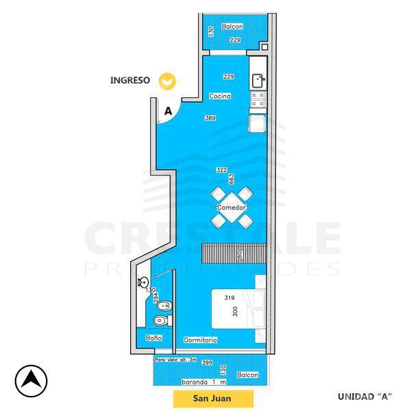 Venta departamento 1 dormitorio Rosario, zona Centro. Cod 4727. Crestale Propiedades