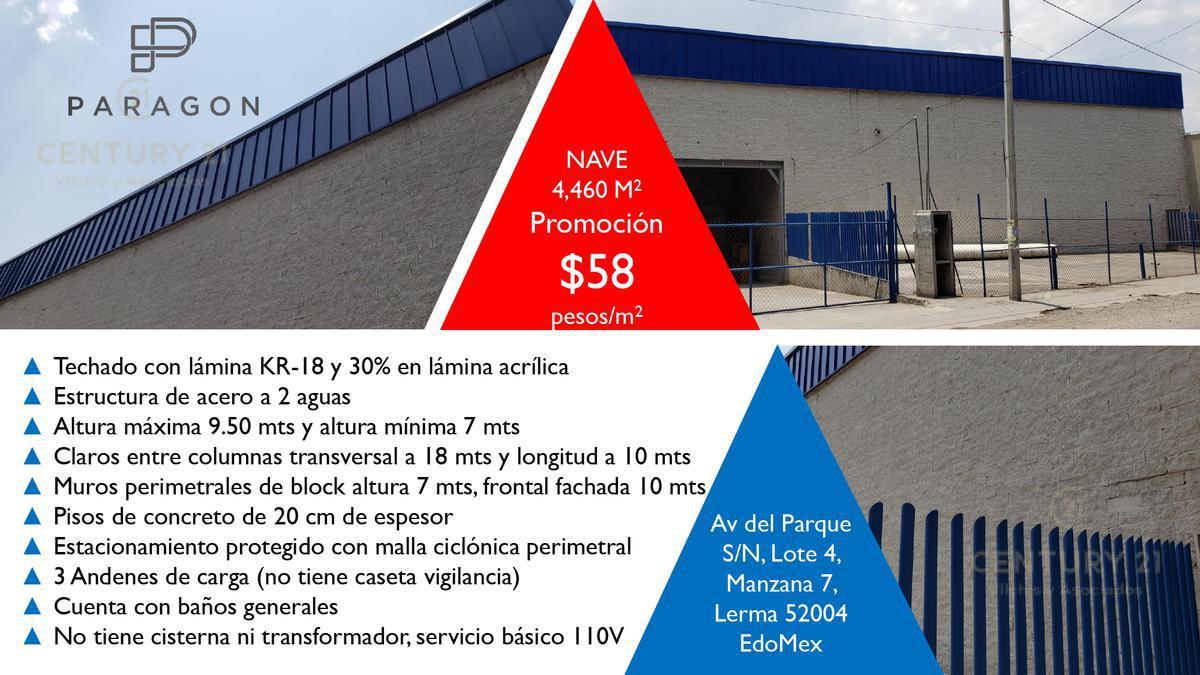 Foto Nave Industrial en Renta en  Corredor Industrial Toluca Lerma,  Lerma  NAVE EN RENTA EN PARQUE  INDUSTRIAL LERMA