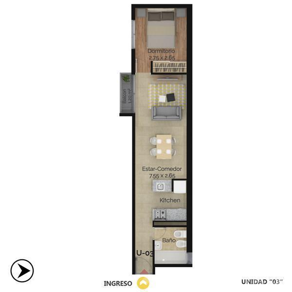 Venta departamento 1 dormitorio Rosario, zona Abasto. Cod CBU12312 AP1179825. Crestale Propiedades