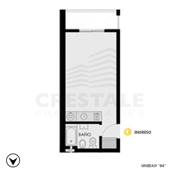 Venta departamento monoambiente Rosario, zona Abasto. Cod CBU8467 AP664071. Crestale Propiedades