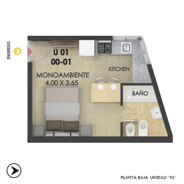 Venta departamento monoambiente Rosario, zona Centro. Cod CBU12434 AP1192340. Crestale Propiedades