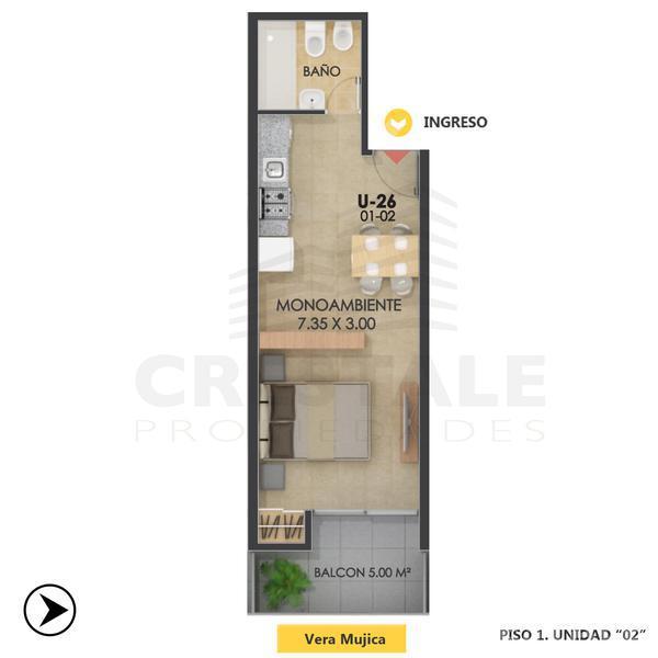 Venta departamento monoambiente Rosario, zona Echesortu. Cod CBU8298 AP655726. Crestale Propiedades
