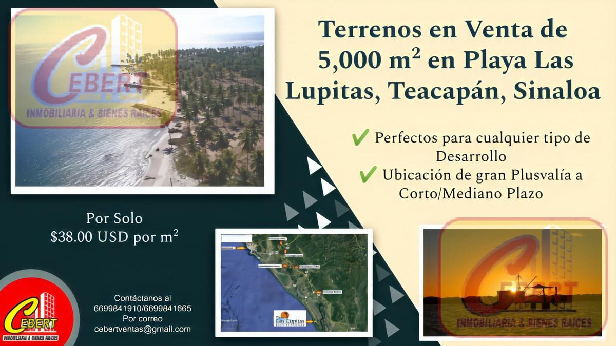 """Foto Terreno en Venta en  Pueblo Teacapan,  Escuinapa  TERRENOS FRENTE AL MAR. """"PLAYA LAS LUPITAS"""" TEACAPAN, SIN. Desde 5,000 M2,/ USD $38.00 M2"""