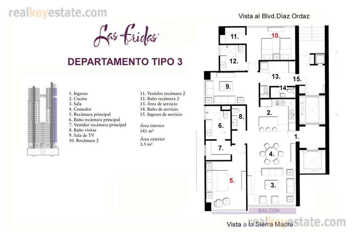 Foto Departamento en Renta en  Santa María,  Monterrey  Depa en renta en Torre Las Fridas