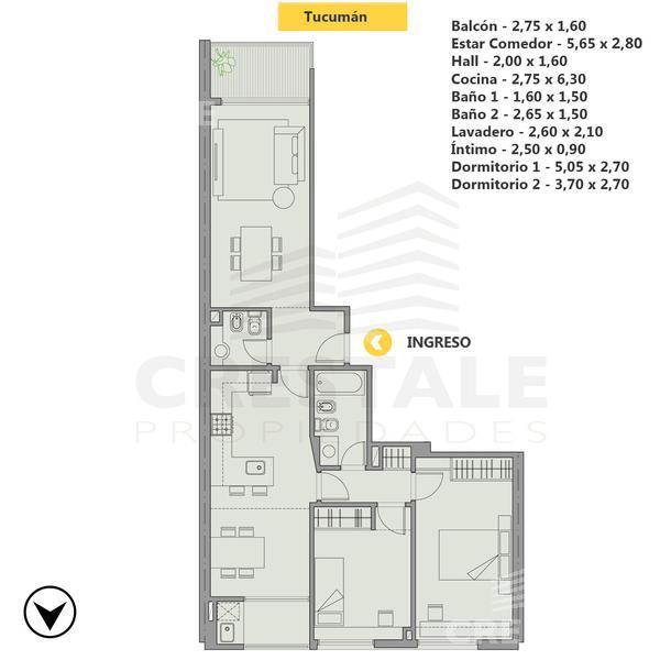 Venta departamento 2 dormitorios Rosario, zona Centro. Cod 4290. Crestale Propiedades