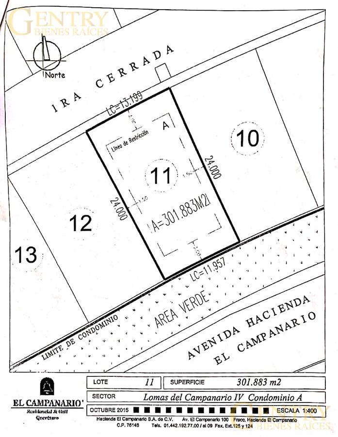 Foto Terreno en Venta en  Fraccionamiento El Campanario,  Querétaro  Lote Residencial Lomas del Campanario 4
