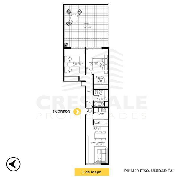 Venta departamento 2 dormitorios Rosario. Cod 3438.0. Crestale Propiedades