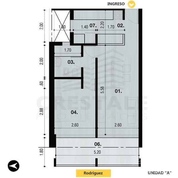 Venta departamento 1 dormitorio Rosario, zona Centro. Cod 3375. Crestale Propiedades
