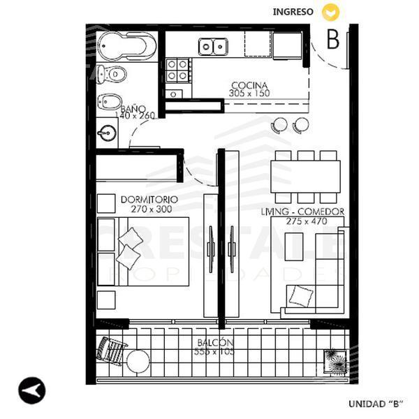 Venta departamento 1 dormitorio Rosario. Cod CBU7830 AP1093444. Crestale Propiedades