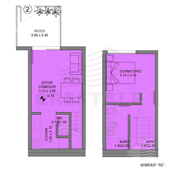Venta departamento de pasillo 1 dormitorio Rosario, zona Centro. Cod CCO11195 PH1097518. Crestale Propiedades