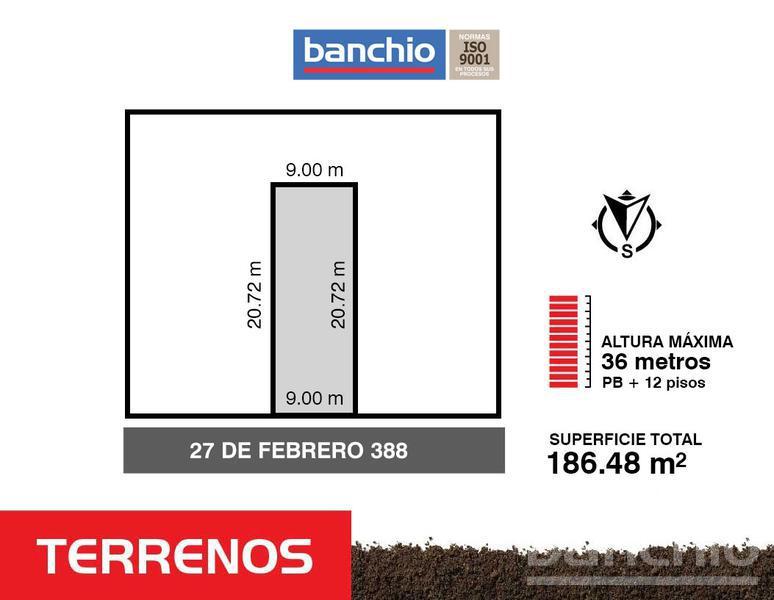27 de febrero al 300, Rosario, Santa Fe. Venta de Terrenos - Banchio Propiedades. Inmobiliaria en Rosario