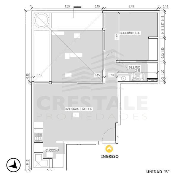 Venta departamento 1 dormitorio Rosario. Cod CBU7705 AP759796. Crestale Propiedades