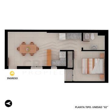 Venta departamento de pasillo 1 dormitorio Rosario, zona Centro. Cod 3691. Crestale Propiedades