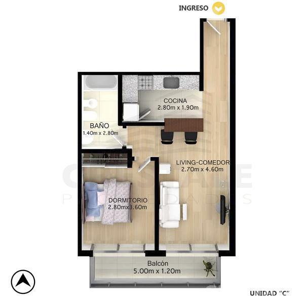 Venta departamento 1 dormitorio Rosario, zona Centro. Cod CBU10998 AP1081305. Crestale Propiedades