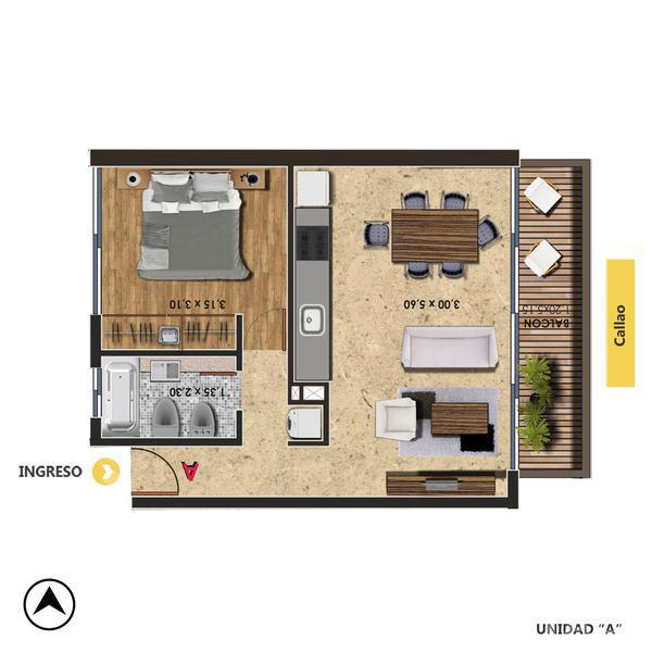 Venta departamento 1 dormitorio Rosario, Centro. Cod CBU22175 AP2139111. Crestale Propiedades
