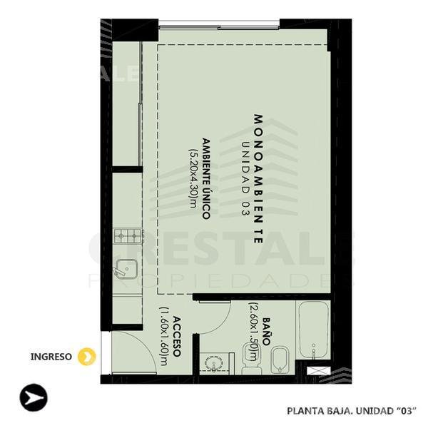 Venta departamento monoambiente Rosario, zona Centro. Cod 3744. Crestale Propiedades