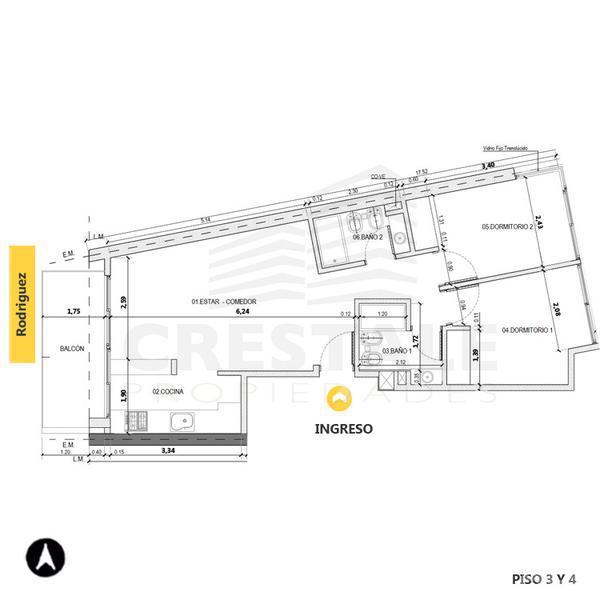 Venta departamento 2 dormitorios Rosario, zona Centro. Cod 4131. Crestale Propiedades