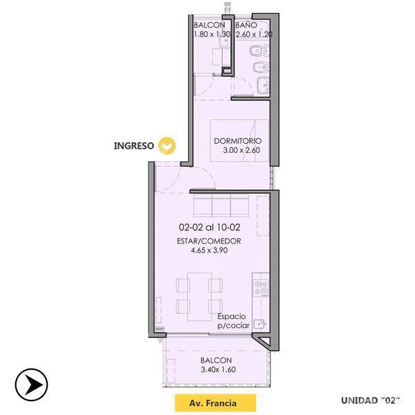 Venta departamento 1 dormitorio Rosario, zona Centro. Cod CBU11752 AP1129522. Crestale Propiedades