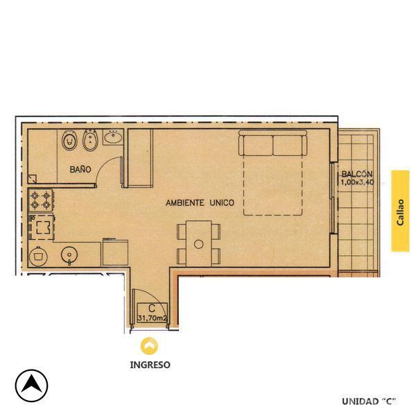 Venta departamento monoambiente Rosario, zona Centro. Cod CBU12715 AP1222448. Crestale Propiedades