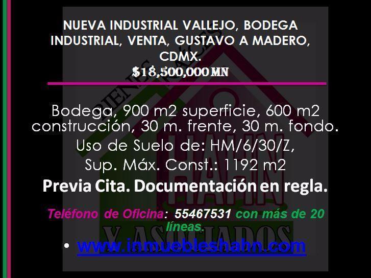 Foto Bodega Industrial en Venta en  Nueva Industrial Vallejo,  Gustavo A. Madero  NUEVA INDUSTRIAL VALLEJO BODEGA INDUSTRIAL VENTA GUSTAVO A MADERO CDMX