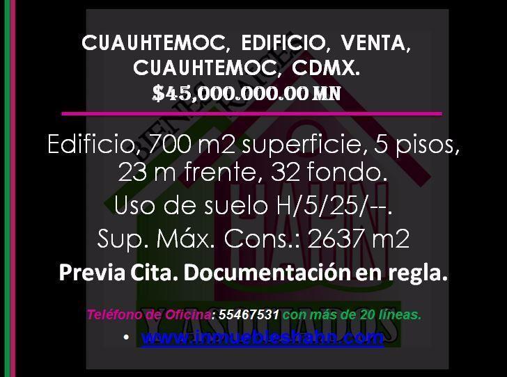 Foto Edificio Comercial en Venta en  Cuauhtémoc,  Cuauhtémoc  CUAUHTEMOC, EDIFICIO, VENTA, CUAUHTEMOC, CDMX.