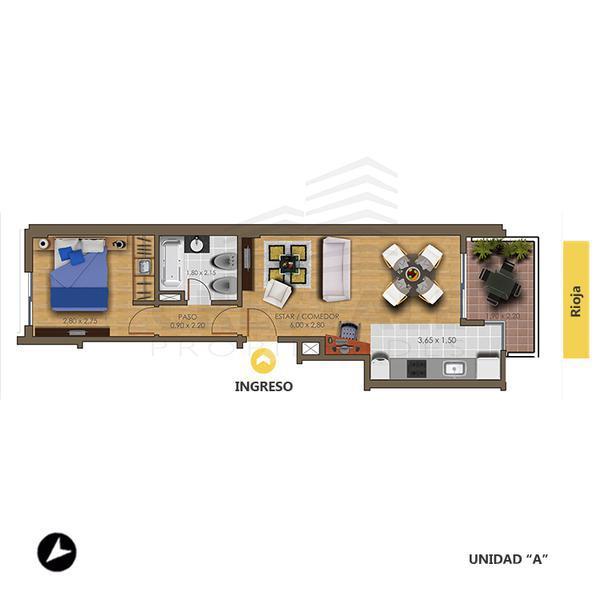 Venta departamento 1 dormitorio Rosario, zona Echesortu. Cod 1449. Crestale Propiedades