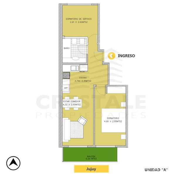 Venta departamento 2 dormitorios Rosario, zona Centro. Cod 4555. Crestale Propiedades