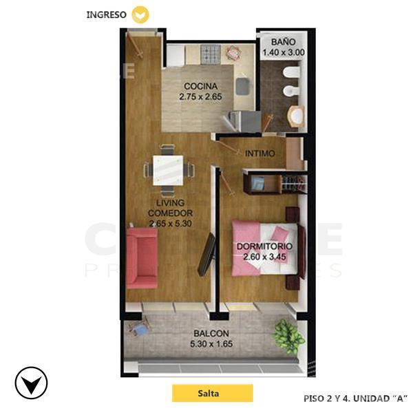 Venta departamento 1 dormitorio Rosario, zona Centro. Cod CBU10981 AP1076581. Crestale Propiedades