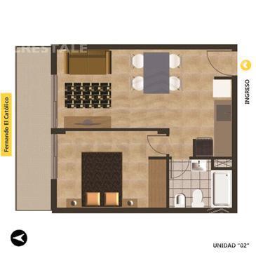 Venta departamento 1 dormitorio Rosario, zona Echesortu. Cod 3069. Crestale Propiedades