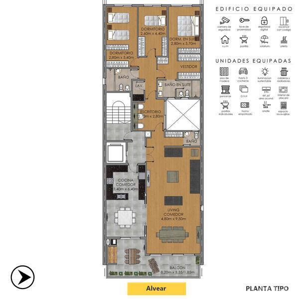 Venta departamento 3+ dormitorios Rosario, zona Centro. Cod CBU12578 AP1210285. Crestale Propiedades