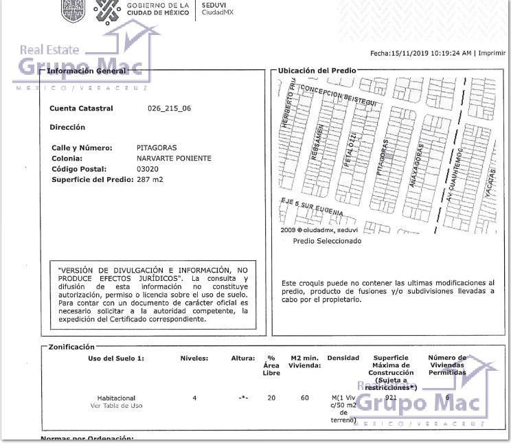 Foto Terreno en Venta en  Narvarte,  Benito Juárez  Terreno con construcción en Venta en Col. Narvarte Pte
